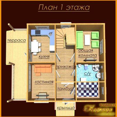 """Проект брусового дома 9х10 №Б-29 - """"Митино"""""""
