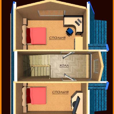 """Проект брусового дома 6х8 №Б- 28 - """"Коломна"""""""
