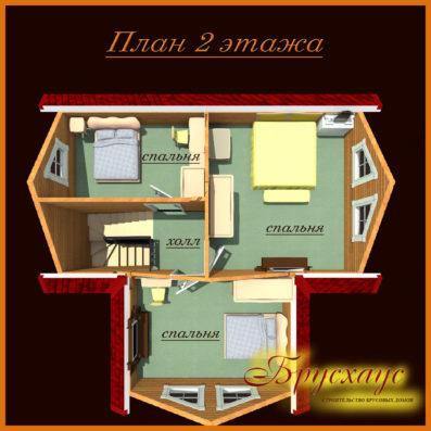 "Проект дома из бруса 9х8,5 №Б-21 - ""Чехов"""
