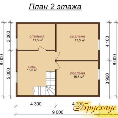 """Проект дома из бруса 9х8 №Б-24 - """"Арзамас"""""""