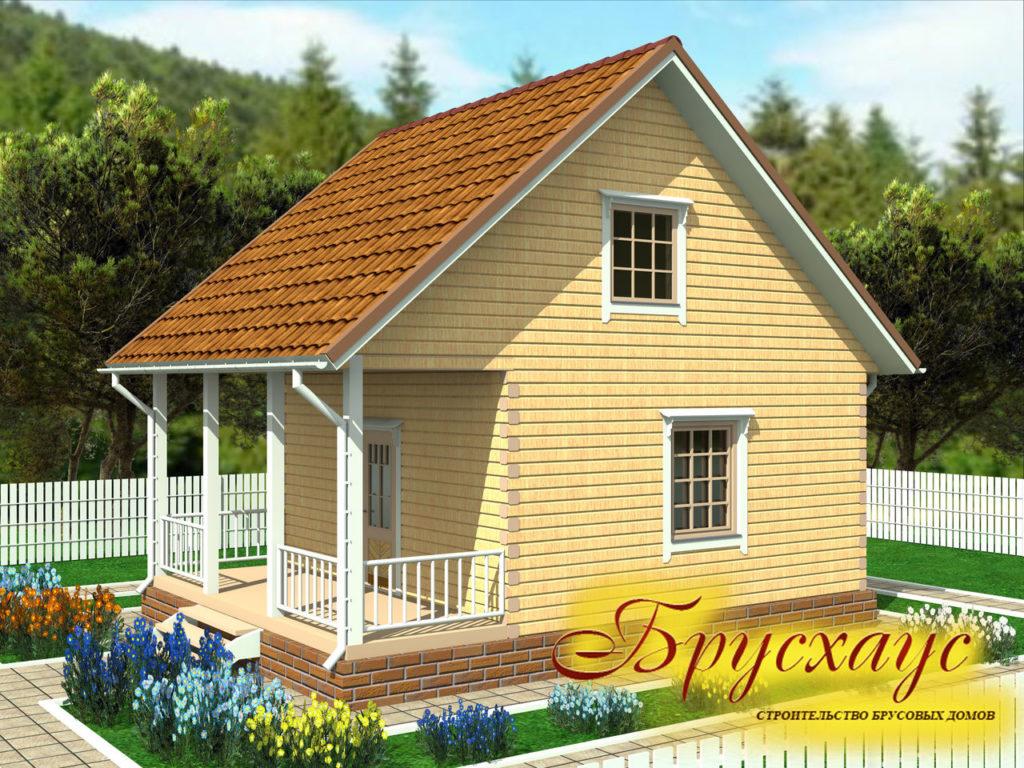 Проект дома из бруса 6х6 с террасой №Б- 19 — «Жуковский»