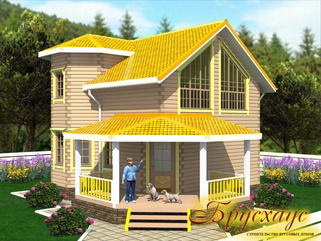 Проект дома из бруса 7х7 №Б-22 — «Тольятти»