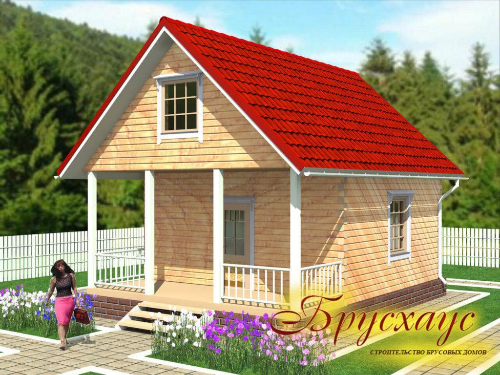 Проект дома 6х6 с террасой №Б- 18 — «Яхрома»
