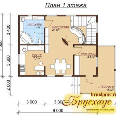 """Проект дома из бруса 7х9 №Б-50 - """"Галич"""""""