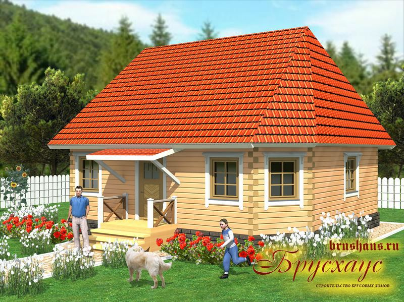 Проект дома из бруса 8,8х9 №Б-34 — «Воскресенск»