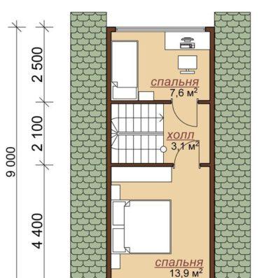 """Проект дома из бруса 9,8х11 с эркером №Б-45 - """"Тверь"""""""