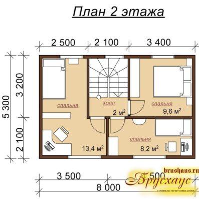 "Проект дома из бруса 7х9 с эркером №Б-39 - ""Муром"""