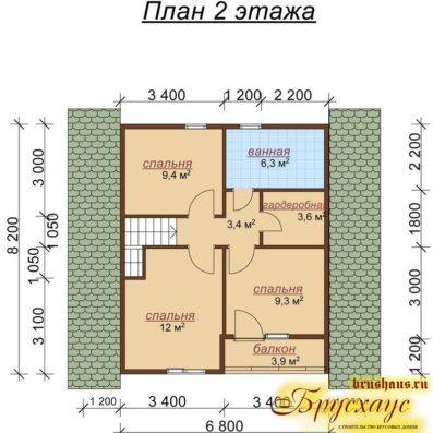"""Проект дома из бруса 9,2х10,3 с эркером №Б-38 - """"Подольск"""""""