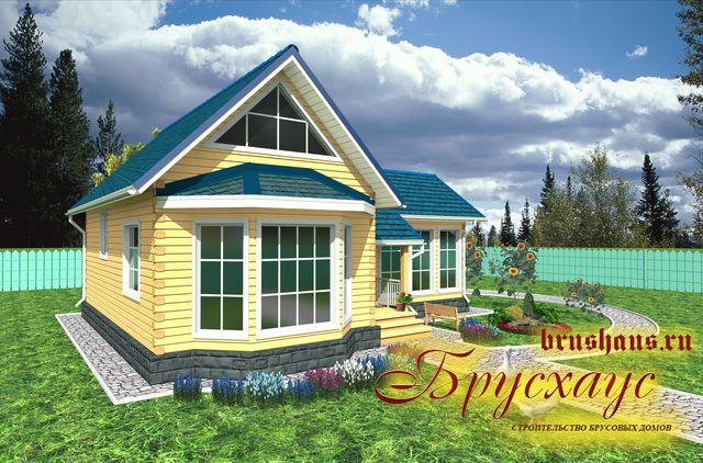 Проект дома из бруса 9,8х11 с эркером №Б-45 — «Тверь»