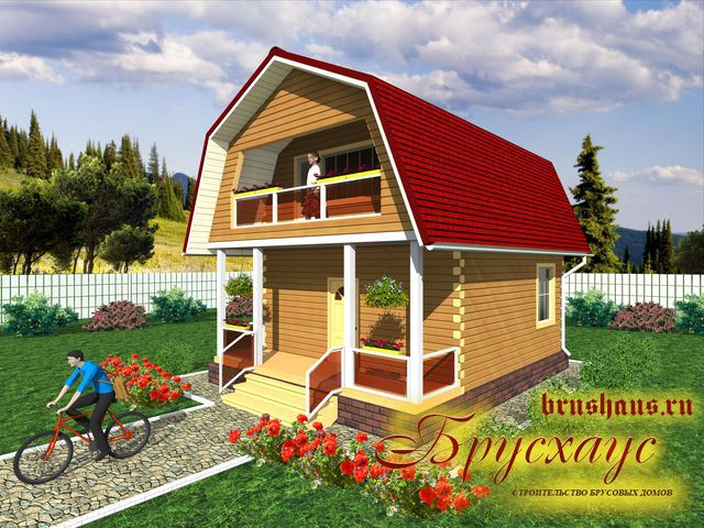 Проект дома из бруса 6х6 №Б-45 — «Ярославль»