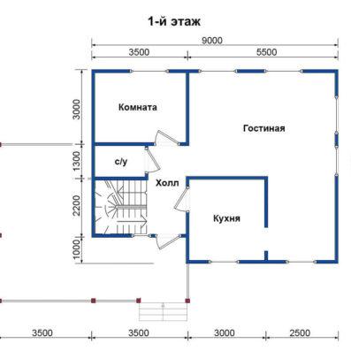 "Проект дома из бруса 9х7,5 №Б-55 - ""Санкт Петербург"""