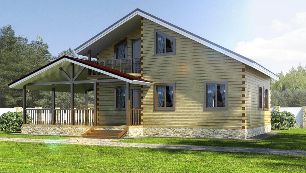Проект дома из бруса 9х7,5 №Б-55 — «Санкт Петербург»