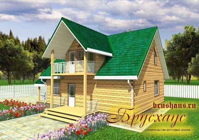 Проект дома из бруса 9,5х11,5 №Б-47 — «Краснодар»