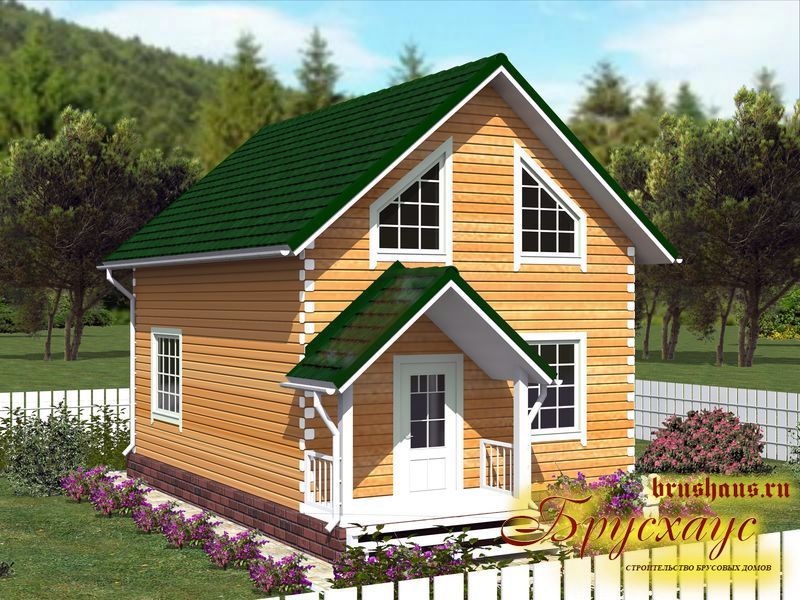 Проект дома из бруса 6х8 с крыльцом №Б-43 — «Владимир»