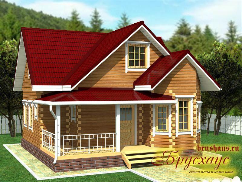 Проект дома из бруса 8х8,2 с эркером №Б-40 — «Тула»