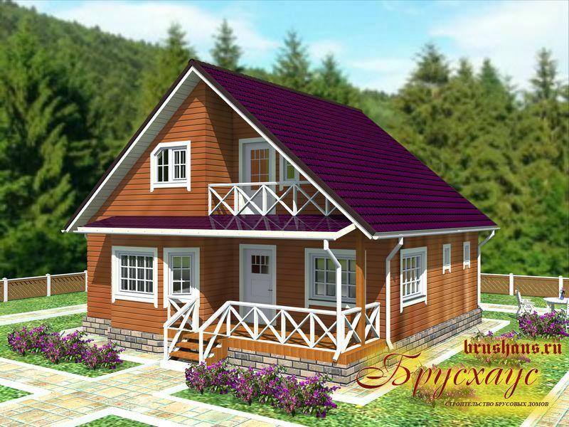 Проект дома из бруса 9,2х10,3 с эркером №Б-38 — «Подольск»