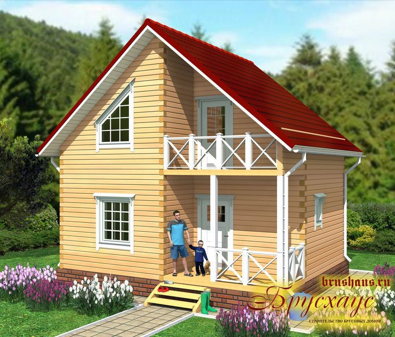 Проект дома из бруса 6х7,5 №Б-36 — «Дмитров»