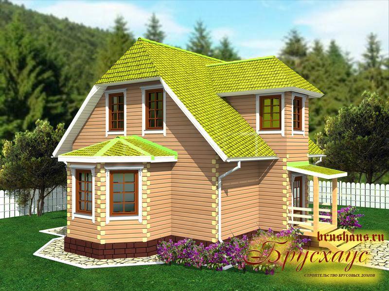 Проект дома из бруса 9х10 с крыльцом №Б-33 — «Балашиха»