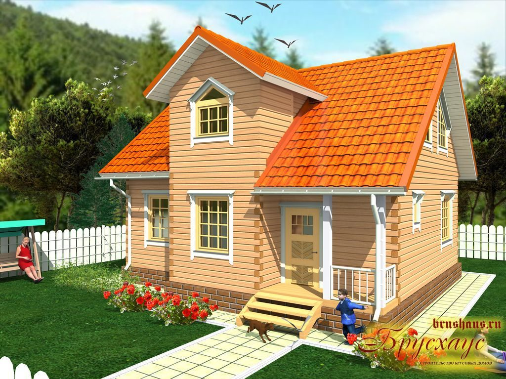Проект дома из бруса 8х9 №Б-30 — «Обнинск»