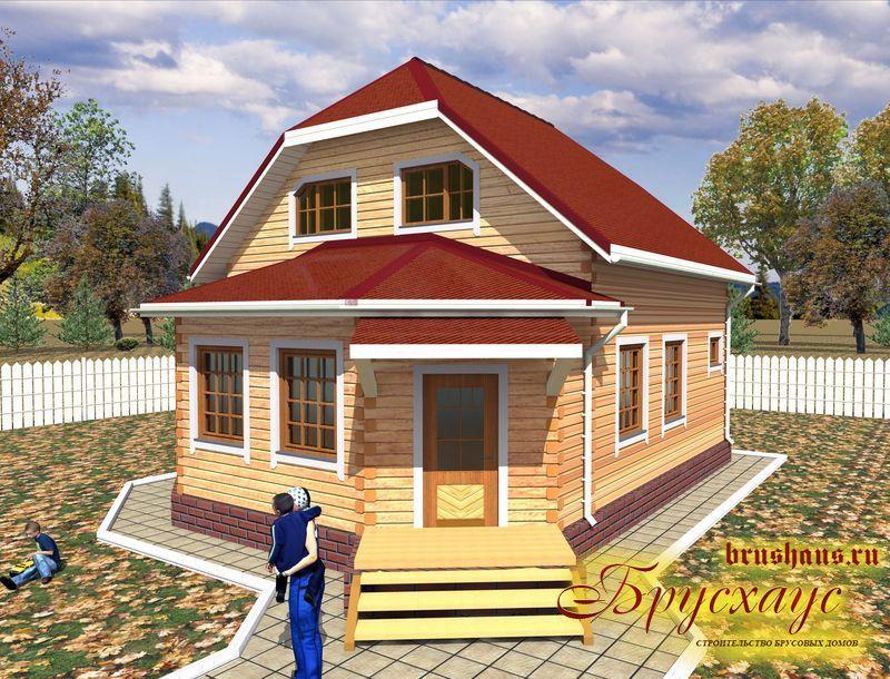 Проект дома из бруса 8х10 с эркером №Б-44 — «Калуга»