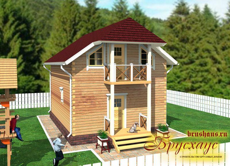 Проект дома из бруса 6х9 с крыльцом №Б-35 — «Королев»