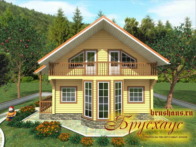 Проект дома из бруса 7х9 №Б-54 — «Столичный»
