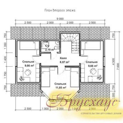 """Проект дома из бруса 9х6 №Б-05 - """"Звенигород"""""""