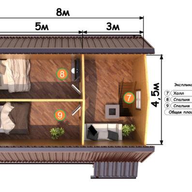 """Проект дома из бруса 7х8 №Б-63 - """"Куровское"""""""
