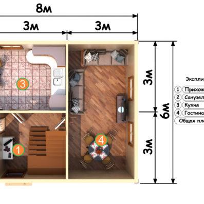 """Проект дома из бруса 6х8 №Б-77 - """"Зеленогорск"""""""