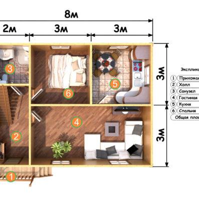 "Проект дома из бруса 7х8 №Б-70 - ""Струнино"""