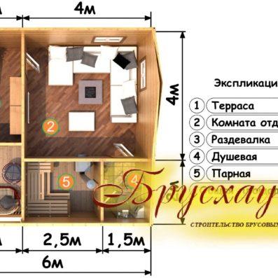 Проект бани из бруса 6х6 №Б-7- <<Северная Двина>>