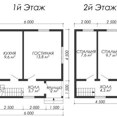 Проект дома из бруса 6x6 ДБ-90