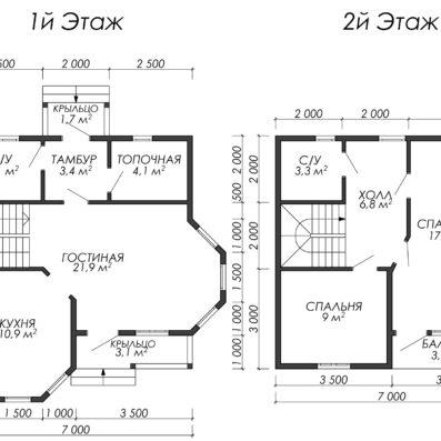Проект дома из бруса 7x7 ДБ-93
